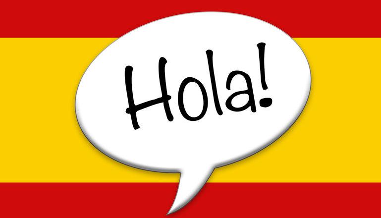 Spanska flaggan med texten Hola